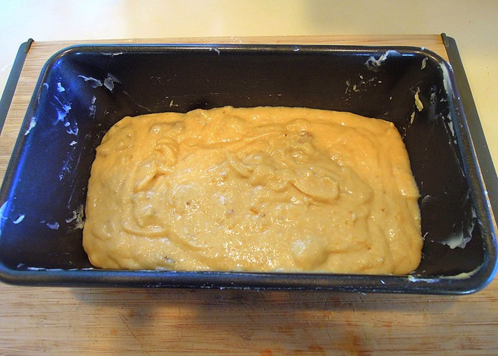 16. Pour the batter into your prepared loaf pan. Bake for 50 minutes to 1 hour at 350°F (175°C)