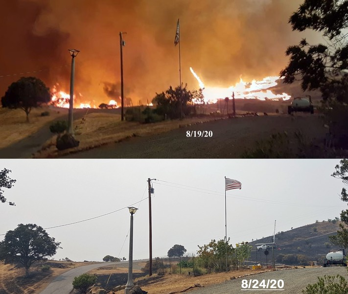 Fire on hill before & after