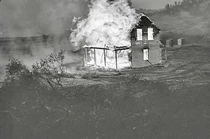 Monticello burning house