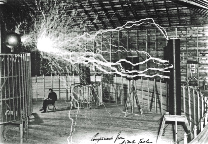 Tesla in lightning