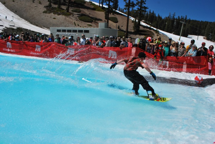 Snowboard on water